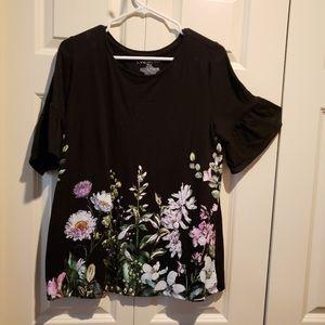 Lane Bryant black shirt with flowers